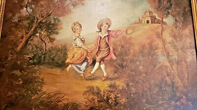 Large Antique Victorian Renaissance Gilt Frame Oil Painting of Children Playing