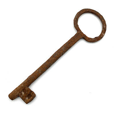 One LARGE Vintage Skeleton Key Old Rusty Iron Antique Prison Jail Cell Key LK01
