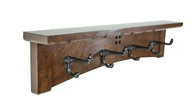 Arts and Crafts Mission 24 Inch 4 Cast Iron Hook Coat Rack With Ledge