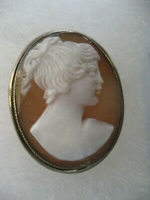 Antique Art Deco Shell Cameo Pendant / Brooch 800 Silver Mount, c 1930's