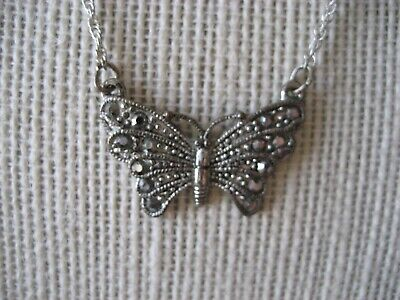 Antique Art Deco Silver Butterfly Pendant Marquisite Studded