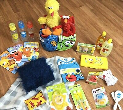 Baby Shower Gift Basket Sesame Street 30+ Pc Set Baby Gifts Diapers Lot Unisex