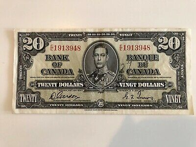 1937 Bank of Canada $20 Gordon/Towers signature