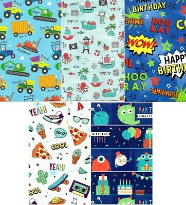 SET OF 3 Boy Wrapping Paper 495x700 Mm Licensed