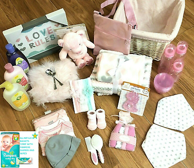 Baby Girl Pink and Gray Baby Shower Gift Basket 30+ piece Set Lot BEAUTIFUL!!!