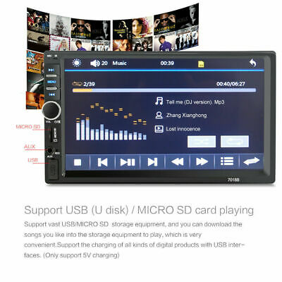 """7"""" inch Double 2 DIN Car MP5 Player Bluetooth Touch Screen Stereo Radio H6K8E"""