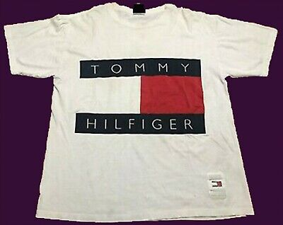 VINTAGE Tommy Hilfiger White Huge Flag Graphic Size S-2XL REPRINT