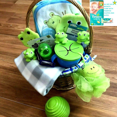 Baby Shower Gift Basket Blue and Green Frogs 20+ piece Set w/ Diapers and Wipes
