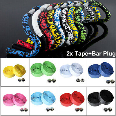 2 X Bicycle Road Bike Cork Handlebar Tape Rubber Foam Belt Wrap Grip+2 Bar plugs