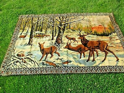 """vintage Deer Stag Image Tapestry Style Rug 74""""x48"""" Made in Italy good used shape"""