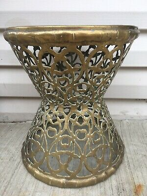Vintage Solid Brass Filigree Plant Stand Stool Hourglass