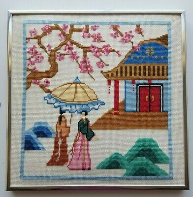 Finished Cross Stitch Framed Japanese Women Parasols Cherry Blossoms Framed