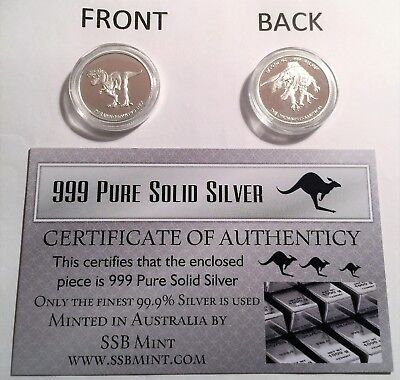 """2014 """"T-REX DINOSAUR"""" 1/10th OZ 999.0 Pure Solid Silver Coin with C.O.A."""