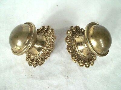 PAIR OF ANTIQUE EARLY 19th CENTURY FANCY BRASS DRAWER KNOBS
