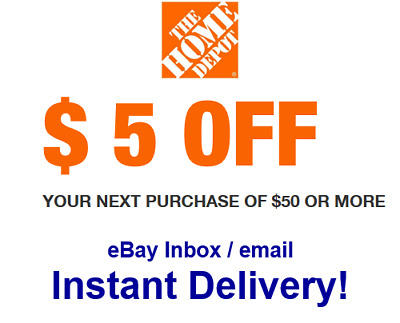 Home Depot $5 OFF $50 Promo.1Coupon In-store Only (sent within 30s)