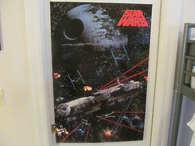 Star Wars Millennium Falcon Death Star X-Wing Poster Vintage 1991 New Very Rare!