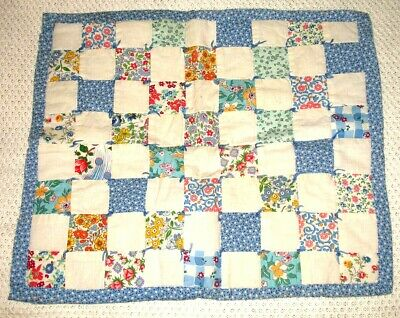 Vintage Doll Crib Bed Miniature QUILT Farmhouse CALICO 1930 40 Floral Patchwork