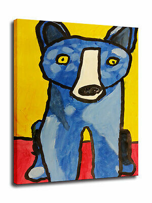 HD Print Canvas Cartoon Blue Dog Art Painting Home Wall Decor Picture 24x30