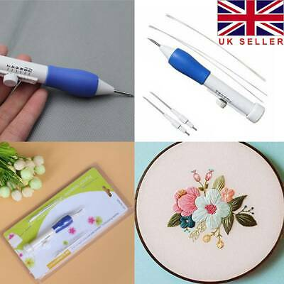 Agile Embroidery Pen Clothing Punch Needle Funny Weaving Tool 1.3/1.6/2.2mm UK