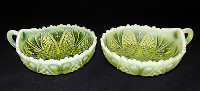 Pair Of Antique Davidson Pearline Uranium/Vaseline Glass 'William & Mary' Dishes