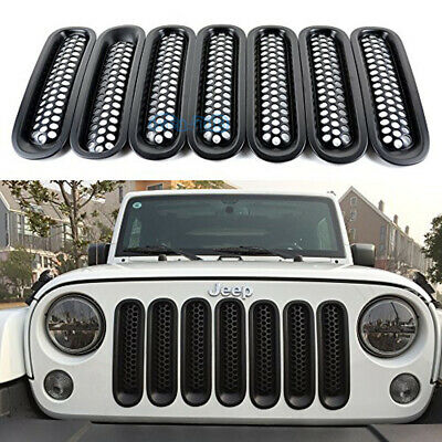 7Pcs Front Insert Mesh Grille Cover Grill Trim Kits for 07-17 Jeep Wrangler JK