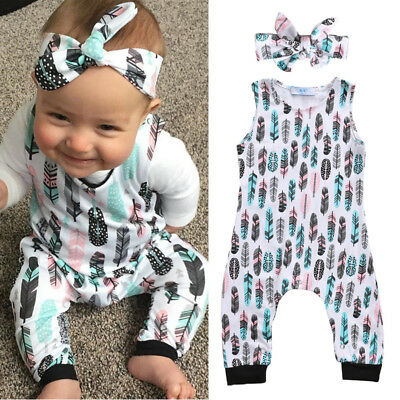 Newborn Baby Boys Girl Feather Romper Bodysuit Headband Outfits Clothes Playsuit