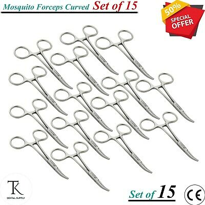 15x Surgical Instruments Mosquito Forceps CUR Dental Hemostatic Surgery Tools CE
