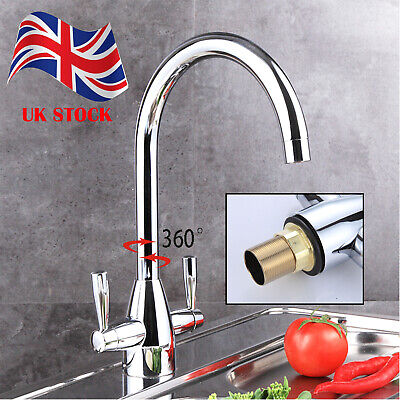 Traditional Kitchen Sink Mixer Taps Basin Twin Lever Tap Brass Chrome Faucet UK