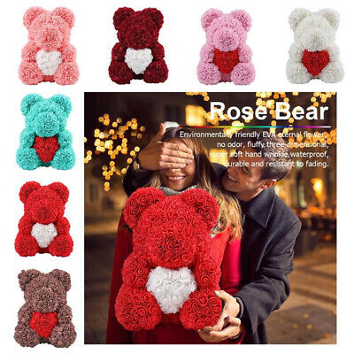 Rose Bear Toy Women Girls Flower Birthday Easter Day Wedding Party Doll Gifts ES