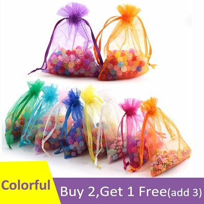 25 50 Colorful Large Small Organza Bags Wedding Party Gift Candy Jewellery Pouch