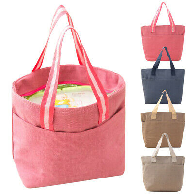 Unisex Men Women Canvas Insulated Lunch Box Carry Bag Cooler Tote Picnic 4 Color