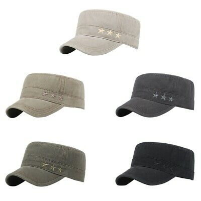 Outdoor Men Washed Cotton Flat Top Hat Sunscreen Military Army Peaked Dad Cap UK