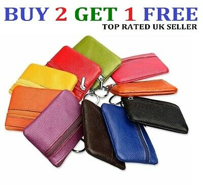 UK Women Men Genuine Leather Small Coin Card Key Ring Wallet Pouch Purse ClrCn