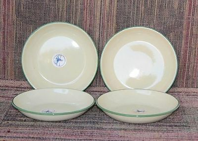 4 Pc Sweden Plates Enamel Old Vintage Antique Home Decor Kitchenware K-60
