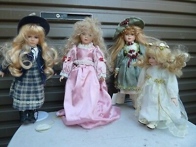4  Vintage Porcelain Dolls On Stands