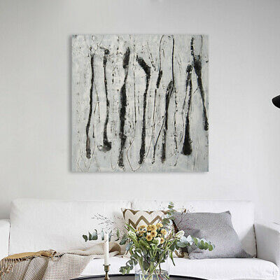 Hand Painted Modern Abstract Line Art Canvas Oil Painting Home Decor Framed