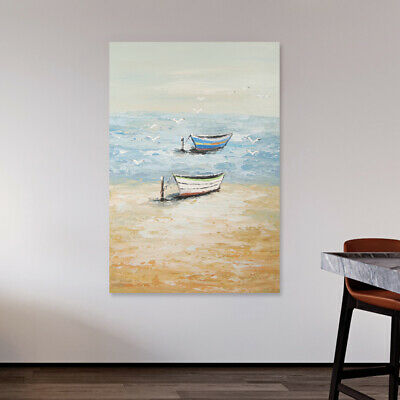 Abstract Hand-Painted Art Canvas Oil Painting Modern Home Decor Framed Boat