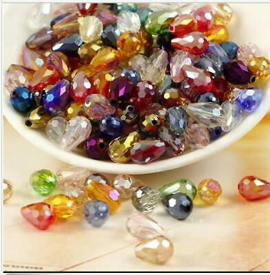 50/100pcs  mixed AB Teardrop Shape Tear Drop Glass Faceted Loose Crystal Beads