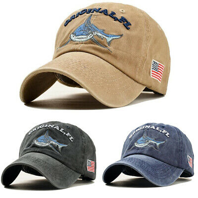 BASEBALL CAP FISHING Shark USA Flag Cotton Washed Vintage