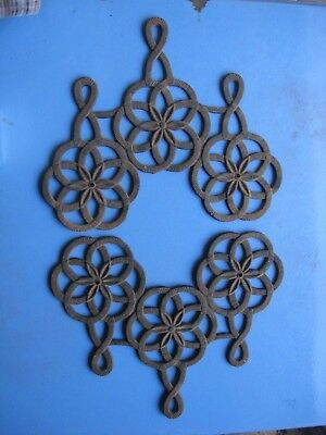 Cast Iron Flower Design Wall Hanger Rustic Decor Country Farmhouse Made inTaiwan