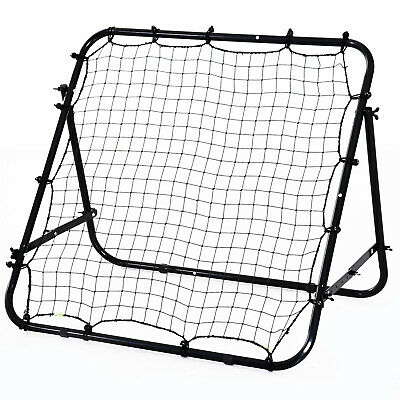 HOMCOM Rebounder Net Kids Adults Football Training Aid Practice Adjustable Black