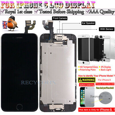 For iPhone 6 Retina LCD Screen Replacement Touch Digitizer Camera Button Black