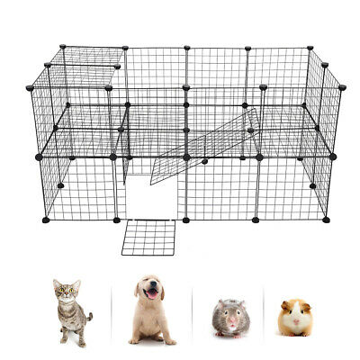 Small Pet Playpen Metal Wire Apartment-style Two-storey Animal Fence and Kennel