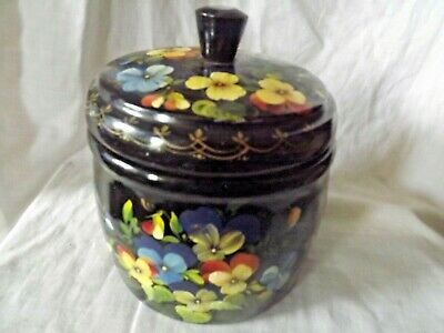 Vintage Wooden Treen  Hand Turned Hand Painted Round Box