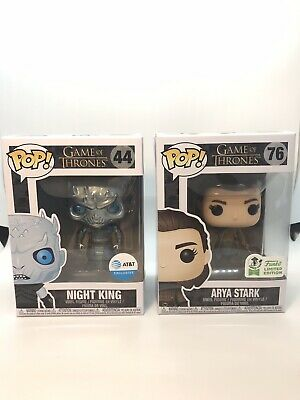Funko Pop Game of Thrones Lot Metallic At&T Night King& Convention Arya Stark Ex