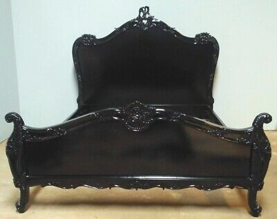 Mahogany Louis Rococo Chateau Style 5' King Size French Antique Black Bed