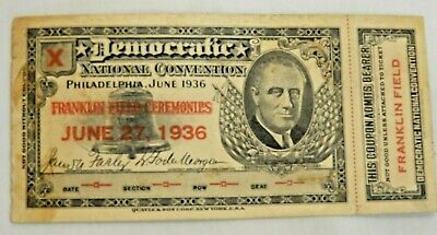 Democratic National Convention Philadelphia June 27, 1936 Franklin Field Ticket