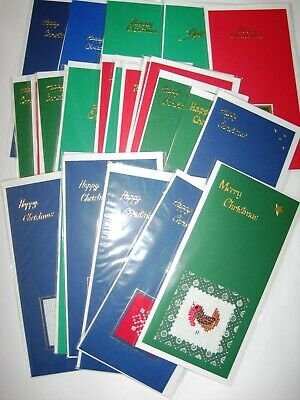 Christmas Card Completed Cross Stitch Bulk pack Qty 24 all 8.25X4""