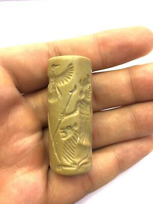 Unique Genuine Antique Ancient Tube Cylinder Seal Engraved Intaglio Stamp Bead