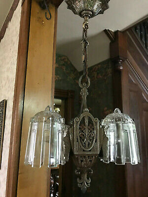 Art Deco Original Paint 2 Bulb Slip Shade Light Fixture, Ready 2 Use, Free S/H